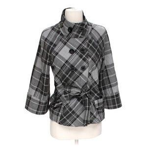 Apt9  Grey/Black Plaid Double Breasted Pea Coat